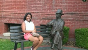 MM visiting with William Faulkner on The Square