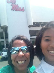 MM & Mom in front of Vaught-Hemingway Stadium